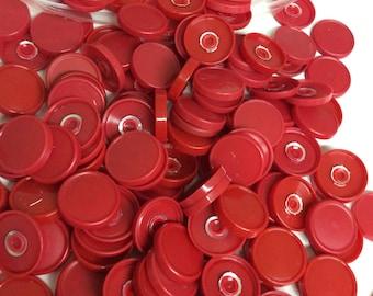 Medicine  flip off vial caps for crafts: red  22mm caps- 100 pieces