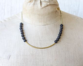 Black Lava Row Necklace | Layering Necklace | Diffuser Necklace