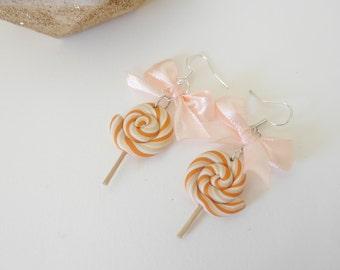 Earrings - orange polymerclay lolipop lollipop