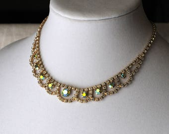 Gorgeous Vintage Rhinestone Necklace, Gold Green, AB Crystals, Wedding Jewelry, Goldtone Vintage Necklace, AB Crystals KC118