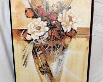 Floral Print Framed Vintage and Ready To Hang Awesome Find