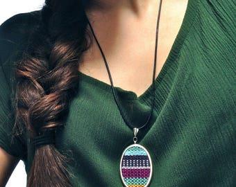 Handwoven Oval Pendant Necklace | Woven Fiber Jewelry | Striped Tapestry Pendant by pidge pidge | Fiber Cameo | Mini Weaving Necklace | A112