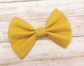 Mustard Yellow Fabric Hair Bow Clip or Nylon Headband / Yellow Fabric Bow / Yellow Bow / Yellow Hair Bow Clip / Mustard Yellow Bow Headband