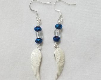 Blue & White Angel Wing Earrings