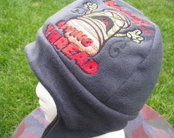 Night of the Living Thread Dead Navy Blue and Black Fleece Ear Flap Hat