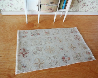 Aubusson Fringed Dollhouse Rug 1:12 scale miniature rug dollhouse Abusson fringed carpet miniature carpet