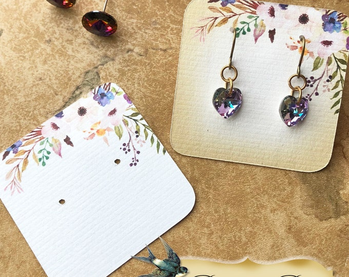 60•PURPLE POSIE•Necklace Card•Earring Cards•Jewelry Cards•Display Card•Display•Earring Holder•Necklace Holder•2x2 or 3x3