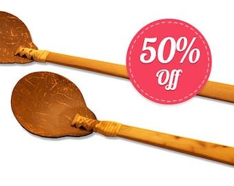 1 pair Coconut Shell Serving Utensils - Fork and Spoon