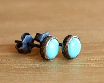 Arizona Turquoise Stud Earrings, December Birthstone Studs, Sky Blue Turquoise earrings Sterling Silver Gold Filled sleeping beauty 6mm 8mm