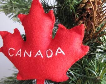 Canada Maple Leaf Ornament // Red Maple Leaf // Canadian Maple Leaf Christmas Ornament