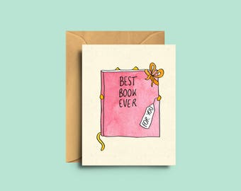 Mini card for booklovers - Card when you give a book - Gift card - Catlover - Bookworm - The Yellow Cat Studio - Handmade illustration