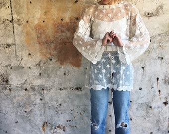 Coqi Coqi 1970s Crochet Bell Sleeve Tunic Cover Up OS