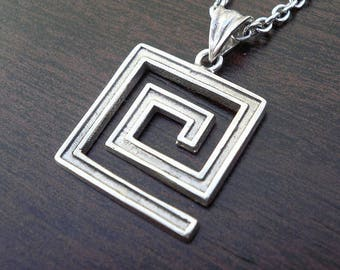 Mens key necklace etsy mens silver necklacegreek key aloadofball Image collections