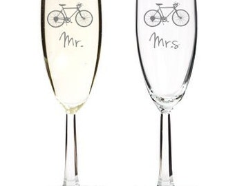 Diamond Engraved Bicycle Cycling Wedding Flutes or Glasses Set of 2