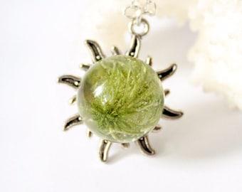 green necklace boho jewelry silver sun necklace natural necklace terrarium jewelry moss jewelry mom gift wife birthday gift sun jewelry Р144