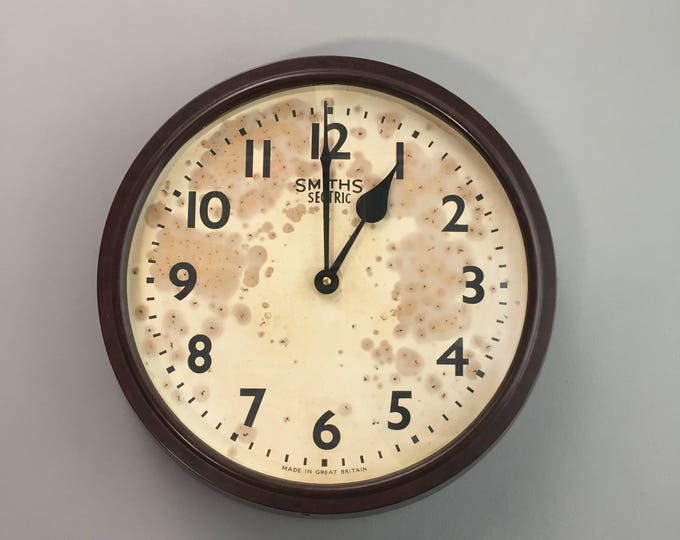 Vintage Original 1940s Brown Bakelite Wall Clock by Smiths