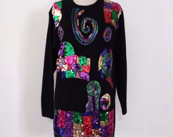 Carducci Rainbow Beads + Sequins Sweater | Vintage 80's