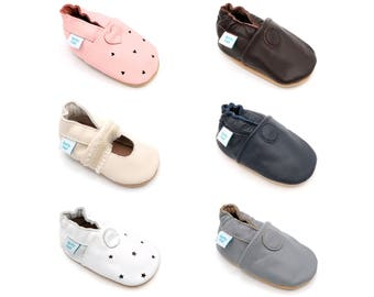 Dotty Fish Soft Leather Baby Shoes. Toddler Shoes. Non-Slip. Indoor Slippers. Pram Shoes. Classic Plain Styles for boys and Girls