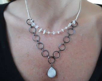 Genuine Moonstone Pendant Necklace with Moonstone Chip Floating Strand