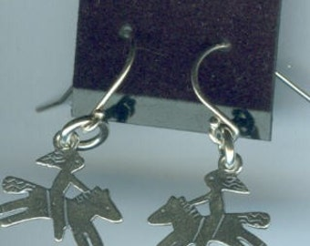 Running Free Horse and Rider Earrings - Sterling Silver