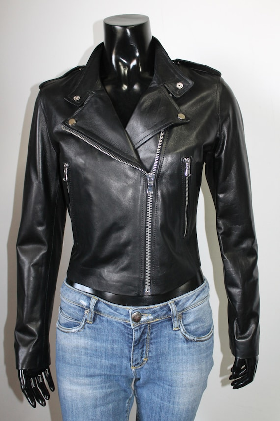 color Women trendy lambskin cropped jacket fit Black slim leather Italian biker genuine soft handmade Rq67w6