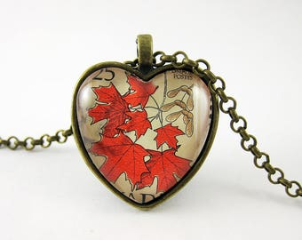Red Maple Leaf Pendant, Vintage 1977 Canada Postage Stamp Necklace, Canada Day, Colourful Nature Jewelry, Heart Shaped, Nickel Free Bronze