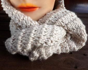 Eternity Scarf, Crochet Scarf, Crochet Infinity Scarf, Crochet Cowl Scarf, Linen Scarf, Chunky Scarf, Ribbed Scarf, Knot Scarf, Winter Scarf