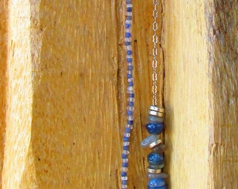 Kyanite, Moonstone and Labradorite Necklace with Charm on Sterling Silver Chain