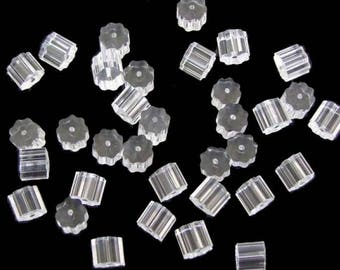 500pcs plastic ribbed 0.7mm hole earnuts/earwire stoppers 3.5x4mm 500pcs pack