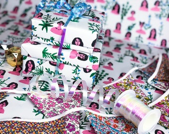 Gift Wrap of Plant Ladies // Wrapping Paper // Birthday Gift Wrap // Present Wrapping // Illustrated Gift Wrap // Cute Wrapping Paper
