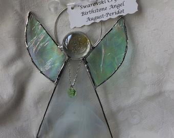 Stained Glass Swarvoski Heart August Birthstone Angel