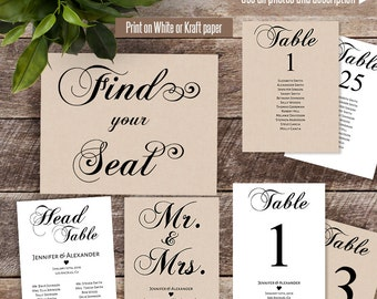 Seating chart cards, printable table number cards, 40 table seating chart cards, Instant download self editable PDF C-114