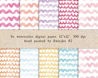 Watercolor Digital Paper, Watercolor Pattern, Pastel Colors, Backgrounds (2)