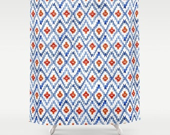 Blue And Red Ikat Shower Curtain Blue Bathroom Decor Blue Fabric Shower  Curtain Ikat Print Curtain