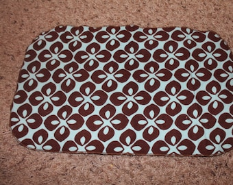 Brown and Blue Flower Burp Cloth with Minky