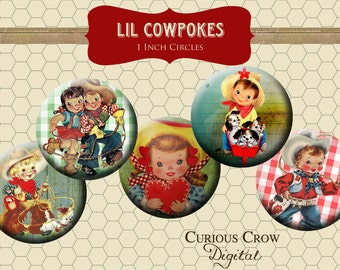 Cute Vintage Cowboy and Cowgirl Kids 1 inch 25mm Circle Rounds Digital Collage Sheet - INSTANT Download - Bottle cap Pendant Jewelry