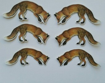 6 x sniffing Fox stickers. Snail mail hobonichi midori planner journal decorations. Ephemera.