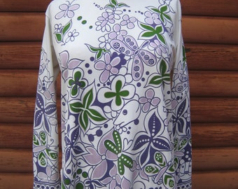 Vintage Polyester Long Sleeve Tunic Top with Whimsical Animal Butterfly and Flower Print