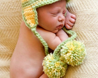 BRIM Hat CROCHET PATTERN in 5 sizes 0-10 years, Baby Child, Brim EarFlap With Pompons