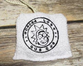 Rick and Morty Embroidery, soap sock, camping soap, soap sack, soap scrubby, wubba lubba dub dub, soap saver, sack of soap, travel soap