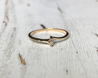 Minimalist Vintage Ring, Diamond Promise Ring, Stackable Ring, Delicate Ring | 10k Gold