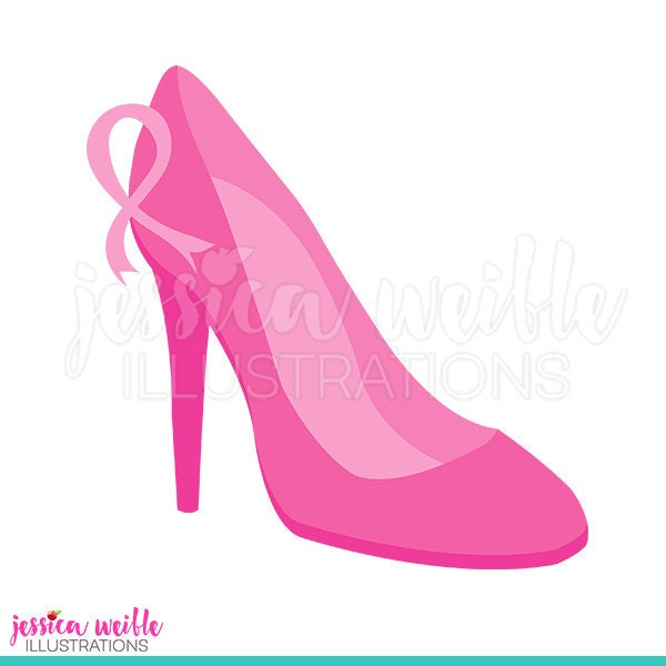 Pink High Heel Cute Digital Clipart Breast Cancer Awareness