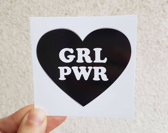 GRL PWR Feminist Black Heart Sticker - Vinyl Illustrated Feminist Gift Weatherproof Waterproof Decal Bumper Sticker Flair / 7x7cm/ Gift Idea