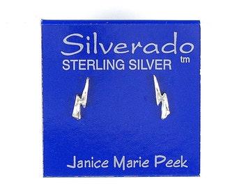 Earrings Lightning Bolt Sterling Silver Minimal Ear Studs no. E05