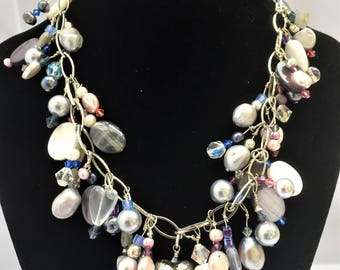 Charm Chain Necklace with Shell, Pearls, Labradorite and Swarovski Crystals
