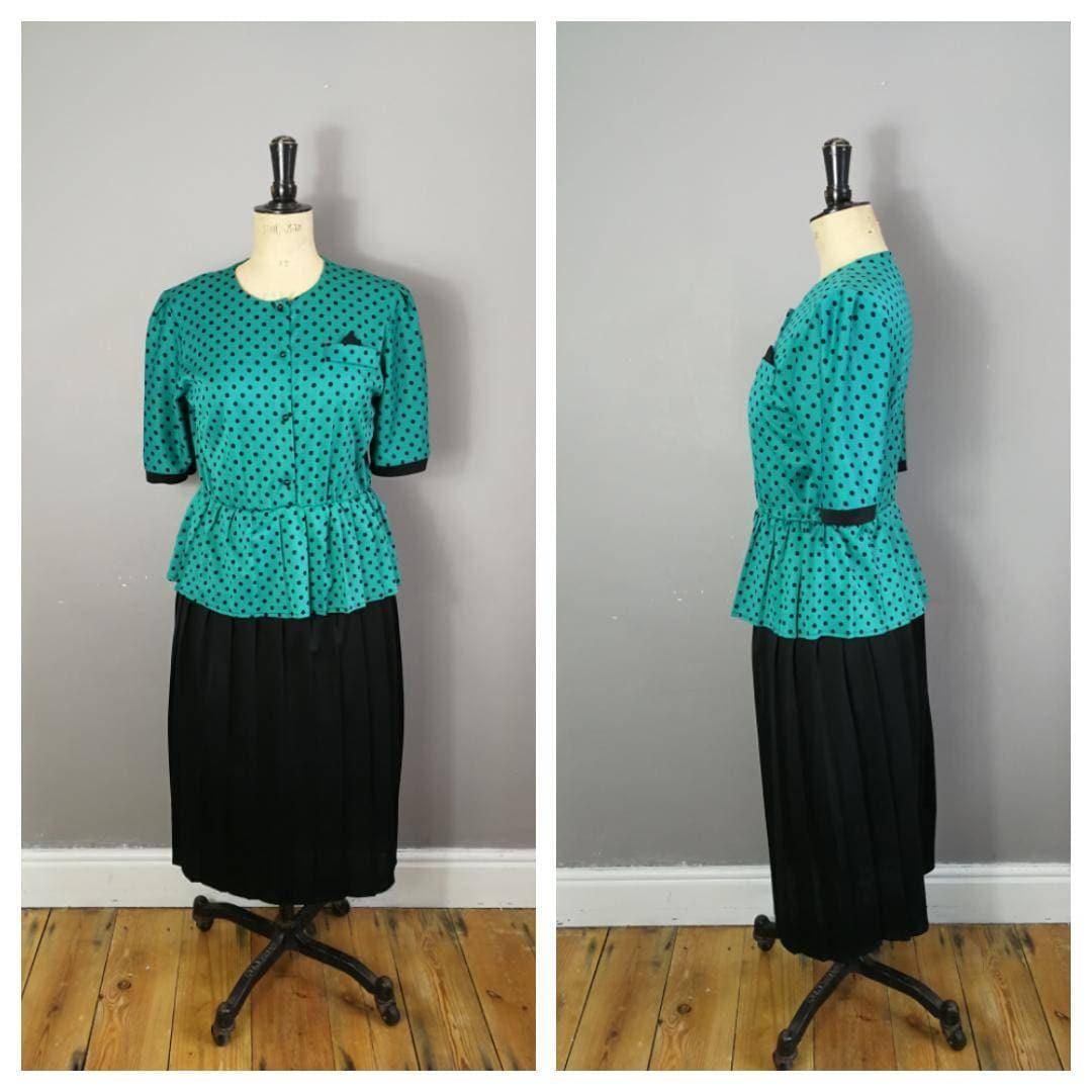 80s peplum dress / green polka dot retro dress / 80s party dress ...