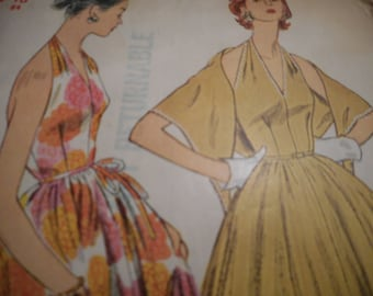 Vintage 1950's Simplicity 4712 Halter Dress and Stole Sewing Pattern Size 16 Bust 34