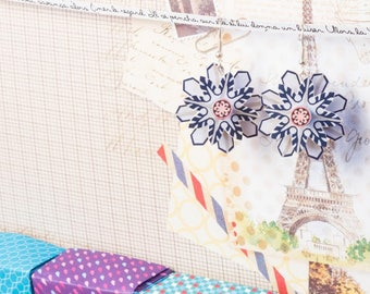 Paper star earing snowstar snow-paper earrings