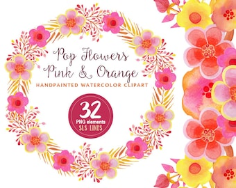 watercolor flowers clipart pink yellow orange whimsical florals, watercolor wedding graphics,  hand painted watercolor clip art pop style