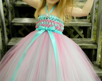 Flower Girl Woven Tutu Dress in Robin Egg Blue and Pink 2t-5t